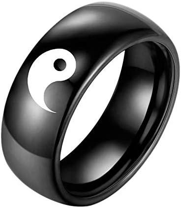 Purmy Yin Yang Ring Ring Herren Edelstahl Ring Amulett Feng Shui Ba Gua