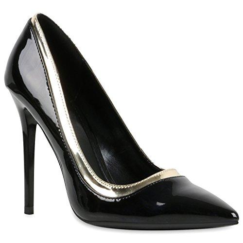 Spitze Damen Pumps High Heels Stilettos Lack Party Schuhe 116913 Schwarz Lack Gold 37 Flandell