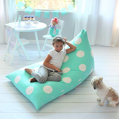 Butterfly Craze Bean Bag Chair Cover (Stuffing Not Included) – Toddler Toy Organizer – Fill with Stuffed Animals to Create a Jumbo, Comfy Floor Lounger for Boy's or Girl's Bedroom – Aqua Polka Dots