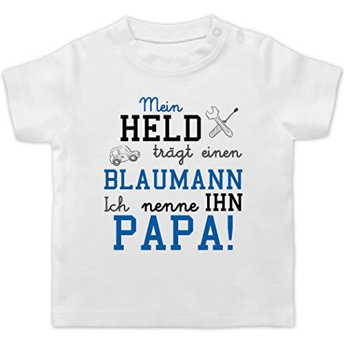 Sprüche Baby - Mein Held trägt einen Blaumann - 1/3 Monate - Weiß - blaumann pink - BZ02 - Baby T-Shirt Kurzarm