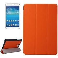 フリップスタンドPUレザーケースカバー Samsung Galaxy Tab A 8.0 / T350用カルストテクスチャレザーケース、三つ折りホルダー ビスタプリント (色 : オレンジ)