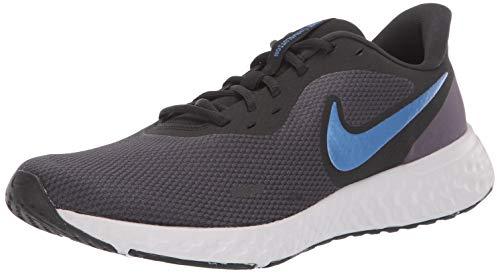 Tênis de corrida masculino Nike Revolution 5, Gridiron/azul montanha - preto-cinza vasto, 12