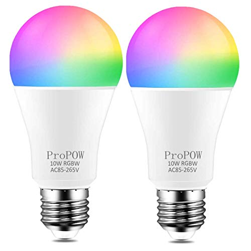 Color Changing Light Bulb,ProPOW 10W RGB Color LED Light Bulbs with IR Remote Control A19 E26 LED Night Light Bulbs Mood Light Bulb for Home Decor,Party(RGB+Soft White,Dimmable,2-Pack)