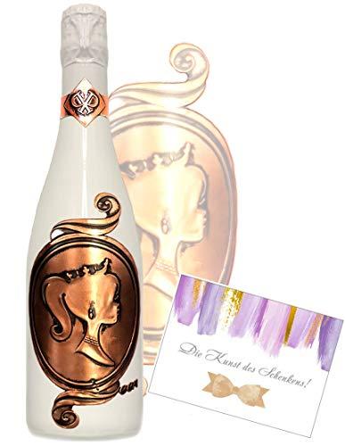 Das Sekt Geschenkset Queen exklusiv mit rose-gold Königin Geschenk für Frau Champagner-Prinzessin zum Geburtstag Muttertag weiss