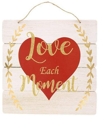 Valentine Day Love Wall Sign Wooden Plaque White Planks Red Heart Home...