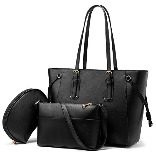 Realer Purses and Handbags for Women Shoulder Tote Bag, 3 Purse Sets