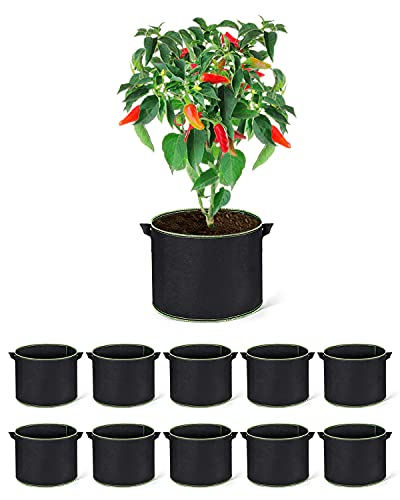 ACSTEP Grow Bags 10 Pack 5 Gallon Heavy Duty Aeration Fabric Pots Thickened Nonwoven Fabric Pots Plant Grow Bags with Handles