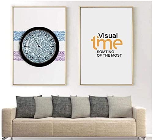 Impresiones en lienzo imagen minimalista nórdico creativo reloj pintura pared arte impresiones pintura cartel sala de estar decoración del hogar 2x50x70cm sin marco