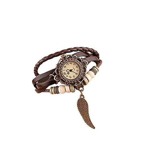 Da.Wa - Orologio da polso con braccialetto intrecciato in pelle, in stile rétro con piccola ala, idea regalo per donna, Kaki