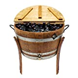 Central Coast Creations Half Barrel Ice Chest - Wine Barrel Handcrafted Wine Barrel Furniture