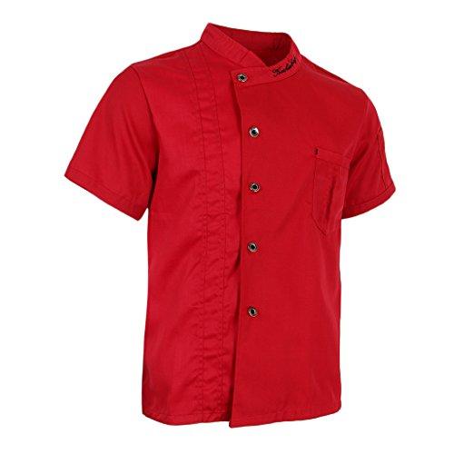 P Prettyia Atmungsaktive Kurzarm Kochjacke Backjacke Kochkleidung Koch Gastronomie Berufsbekleidung Arbeitskleidung für Restaurant Gastronomie – Rot, 2XL - 4