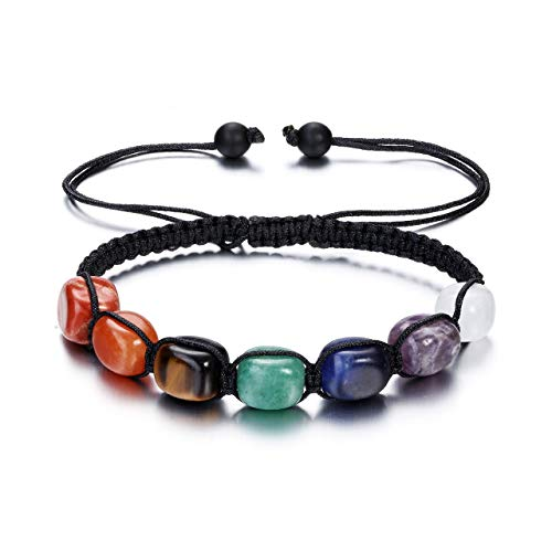JSDDE 7 Chakra Crystal Bracelet Reiki Healing Chakra Stone Braided Gemstone Bracelets for Women Yoga Meditation