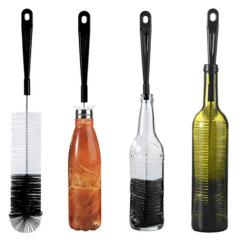 ALINK 16in Extra Long Black Bottle Cleaning Brush Cleaner for Washing Narrow Neck Beer, Wine, Kombucha, Thermos, Nalgene, Carafe, Yeti, S' Well, Brewing Bottles, Hummingbird Feeder