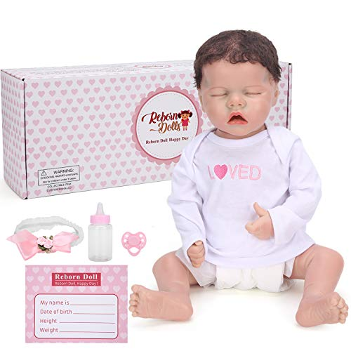 HONG111 Boneca bebê Reborn, boneca bebê de silicone realista de 55 cm, boneca Reborn pesada em roupa branca, melhor conjunto de aniversário para meninas de 3 anos