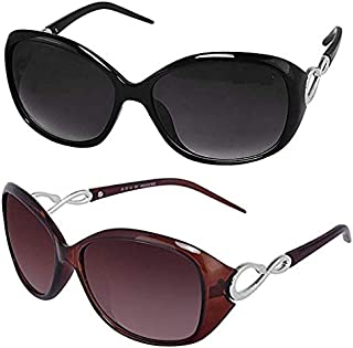 3272d7f0da Sheomy Womens Sunglasses Of 2 Combo Of 2 Sunglass (Black Brown) Wayfarer  Sunglasses For