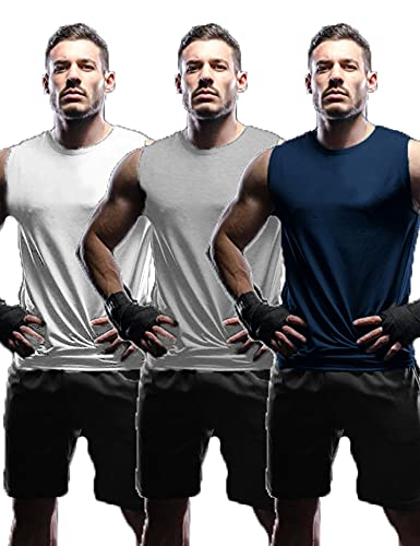 Tinkwell Camiseta sin mangas para hombre (3 unidades), cuello redondo, camiseta interior...