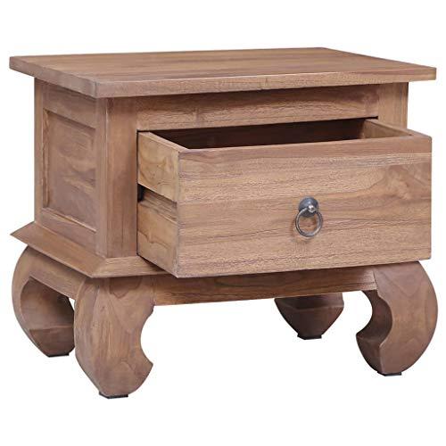 Festnight Nachttisch 45×35×40 cm Massivholz Teak mit 1 Schublade Nachtschrank Nachtkonsole Nachtkommode Schlafzimmer Kommode Nachtschränckchen