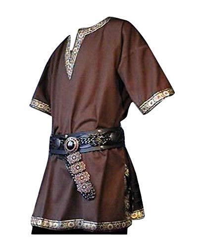 Hombres Manga Corta Medieval De Los Tunica Medieval Camisa con Cuello En V Sin Correa Traje Marrón 2XL