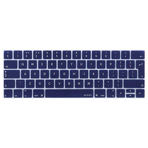 MOSISO Cubierta de Teclado Compatible con 2019 2018 2017 2016 MacBook Pro 13/15 Touch Bar A2159 A1989 A1706 A1990 A1707, Silicona Delgado Piel (EU Layout con Alfabeto Inglés), Azul Marino