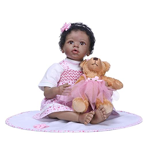 Reborn Doll Kids Play Lifelike Simulation Doll Silicone Baby Newborn Black Girl Realistic Cute Christmas Gifts Toy, Humanoid Doll