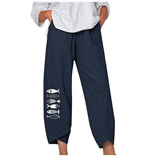 FOTBIMK Pantalones de mujer casuales cintura media impresión de pescado algodón lino suelto largo recto pantalones verano cintura elástica pantalones con bolsillos