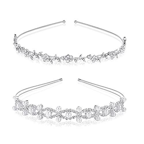 Diadema de Diamantes,2 PCS Banda de Pelo de Corona Perlas de Cristal Novia Diademas de Flor y Hojas para Damas de Honor Mujeres Niñas