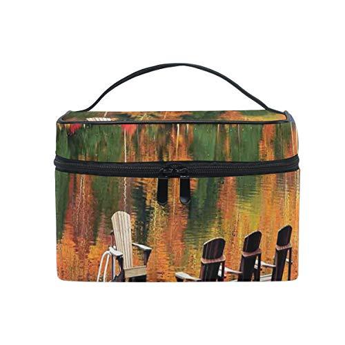 HARXISE Sac De Rangement pour Cosmétiques,Chaises sur Un Quai en Bois vibrent Couleur Automne forêt réflexion lac Vue,pour Cosmétique Trousse/Organisateur/Sac de Toilette