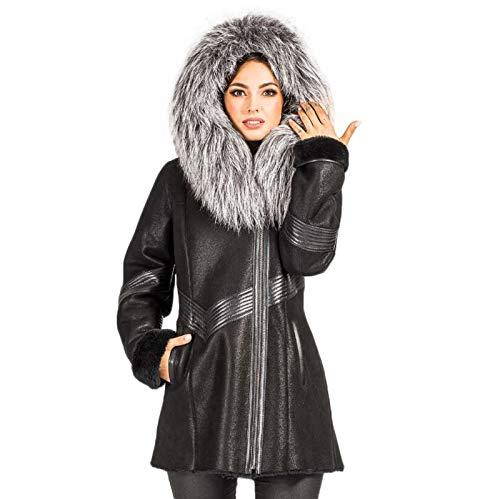 Hollert Damen Lammfelljacke Fanny Kurzmantel Winterjacke mit Kapuze echt Merino Schaffell kuschelig warm hochwertiges Leder Größe S