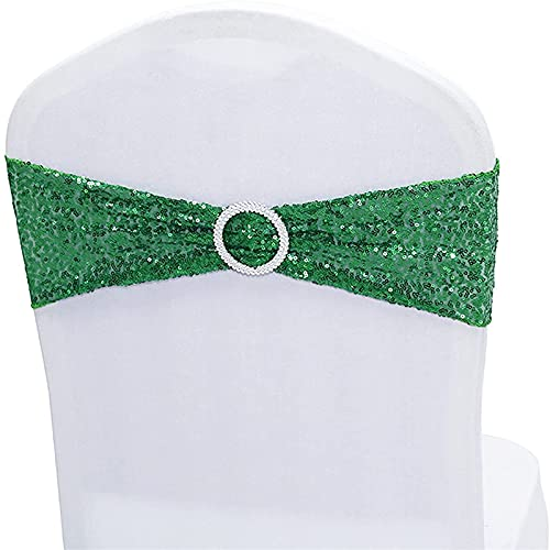 Sillas elásticas de lentejuelas para silla, bandas elásticas de licra para bodas, recepciones, eventos, banquetes, sillas de hotel, decoración (verde, 50)