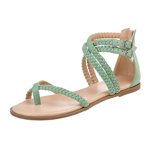 LONGTING Women Summer Slip On Ladies Sandals Cross Strap Beach Fashion Flat Roman Shoes Casual Shoes Slippers Green