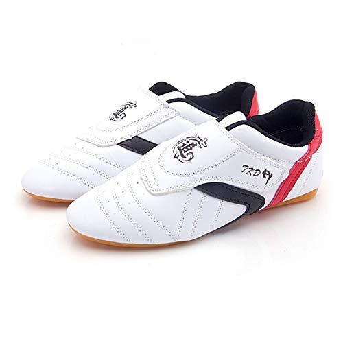 Meng Zapatos Deportivos de Taekwondo Zapatilla Ligera de Artes Marciales para Taekwondo, Boxeo, Karate, Kung Fu, Taichi (Color : White, Size : 41)