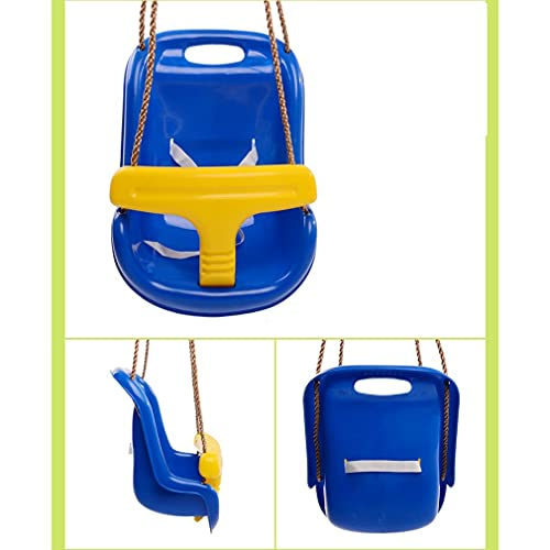 Toy children's swing indoor and outdoor home activities armrests infants and toddlers hanging chair baby swing detachable and convenient waterproof and non-slip (Color : Blue)