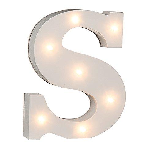 schenken-24 Beleuchtete Buchstaben (A - Z) mit LED-Birnchen, weiß, ca. 16 cm Höhe, Buchstaben:S