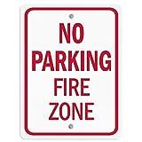 Eliuji Señal de metal de metal con texto en inglés 'No Parking Fire Zone', para decoración de pared, retro, a la moda, elegante, para bar, cafetería, garaje, casa, patio al aire libre, 20,3 x 30,4