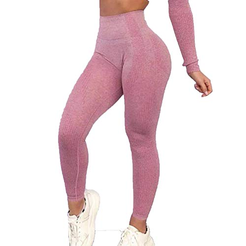 FITTOO Womens High Waisted Seamless Leggings Cutout Yoga Pants Gym Workout Tights Tummy Control Pink M
