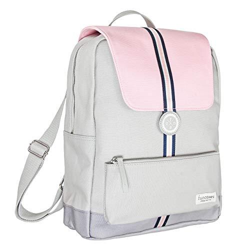 Rucksack San Francisco, hellgrau - rosa mit Zierstreifen, wasserabweisender Canvas/groß/Laptop Notebook 15,6 Zoll/DIN A4 Ordner/für Schule, Arbeit, Uni, Reisen