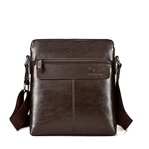 TIANHONGDAISHU Bolso de hombro de cuero para hombres iPad Bag Cross Body Tablet Small Messenger Business Casual Travel Daily (marrón oscuro)
