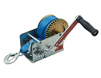 TYT 2500lbs Heavy Duty Boat Trailer Winch, 8M(26ft) Nylon Strap and Hook Manual Winch, Two Way Ratchet with Safety Pawl for ATV Boat Trailer Truck Winch Pulling(Blue Strap)