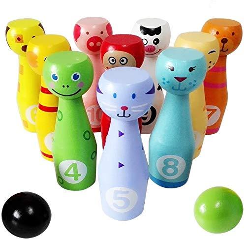 ljfjf Großes Holz Bowling Set Kids Skittles Spielzeug for Kleinkinder mit 10 Tiere Pins 2 Ball