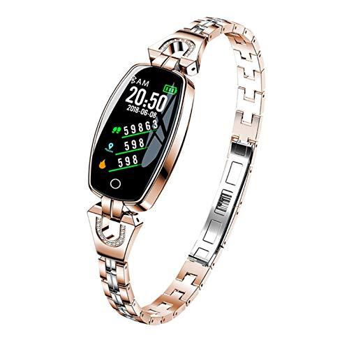 Smart Watch Mujeres a Prueba De Agua Monitoreo De Ritmo Cardíaco Bluetooth para Android iOS Aptitud Pulsera SmartWatch Drop (Color : Gold)