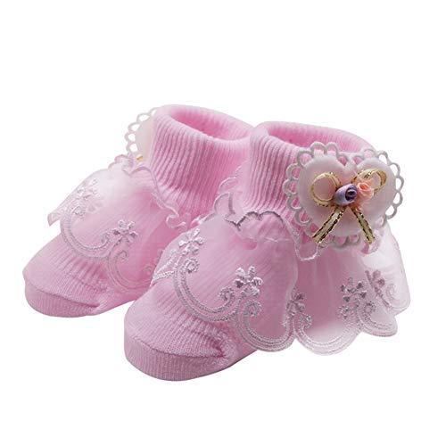 Miyanuby Chaussettes Bébé Fille Coton Dentelle Bowknot Robe Chaussettes Pour Fille Cadeau 0-2 Ans