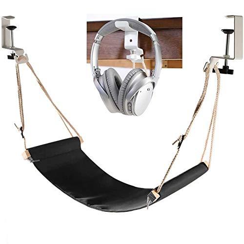 LTJY Foot Hammock Under Desk Footrest | Adjustable Office Foot Rest Under Desk Hammock | Portable Desk Feet Hammock with Headphones Holder - Black