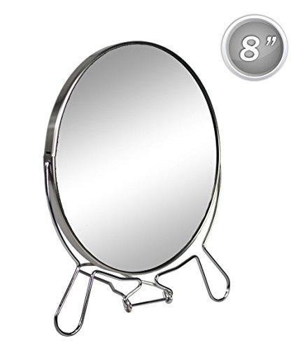 Vetrineinrete Kosmetikspiegel, eine Seite mit Vergrößerung, tragbar, drehbar, Durchmesser 20 cm, verchromter Stahl G24