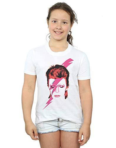 David Bowie Girls Aladdin Sane Lightning Bolt T-Shirt 5-6 Years White