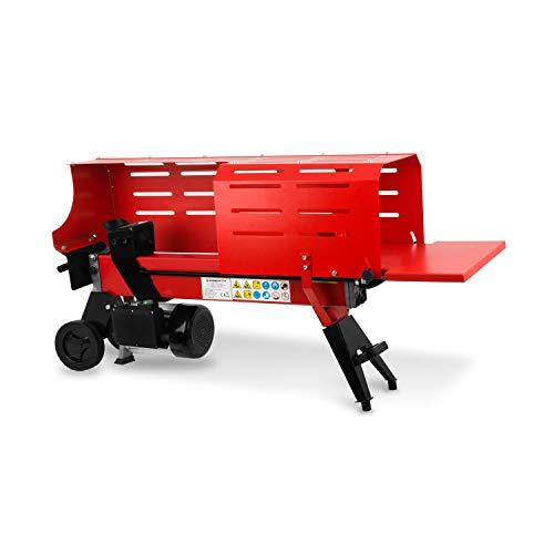 EBERTH 7 t Holzspalter mit Schutzvorrichtung (520 mm Spaltweg, Ø 250 mm, 2200 Watt Elektromotor, 7 Tonnen Spaltkraft, liegend, beidhändige Bedienung, Griff, Transporträder) rot