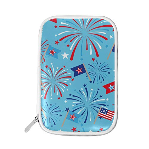 Pencil Case Cosmetic Bag Pen Pouch Pencil Marker Holder Stationeries Organizer with Zipper Big Capacity for School & Office Flag Firework 4Th of July