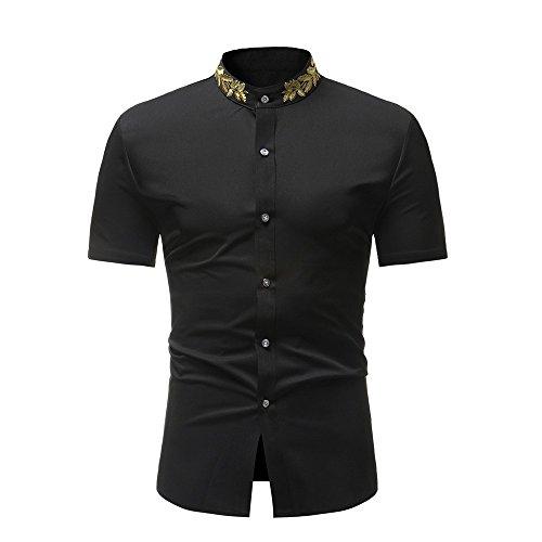 Xmiral Camicia Uomo Slim Fit Camicia Hawaiana Uomo Uomo Button Down Shortsleeve Uomo Camicie Uomo Maniche Corte Camicia Jeans Uomo (L,Nero)