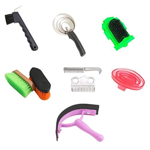 Katyma Juego de limpieza para caballos, cepillo de crin de caballo, kit de cuidado de caballos, fuerte y cómodo, herramientas de limpieza para caballos