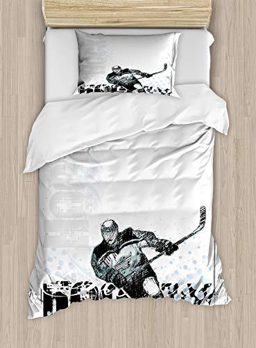 ABAKUHAUS Eishockey Bettbezug Set Einzelbett, Profi-Torwart, Kuscheligform Top Qualität 2 Teiligen Bettbezug mit 1 Kissenbezüge, Mehrfarbig