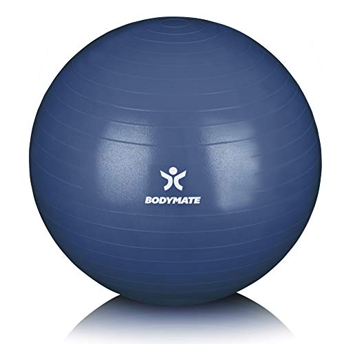 BODYMATE Gymnastikball mit GRATIS E-Book inkl. Luft-Pumpe Navy-Peony 65cm